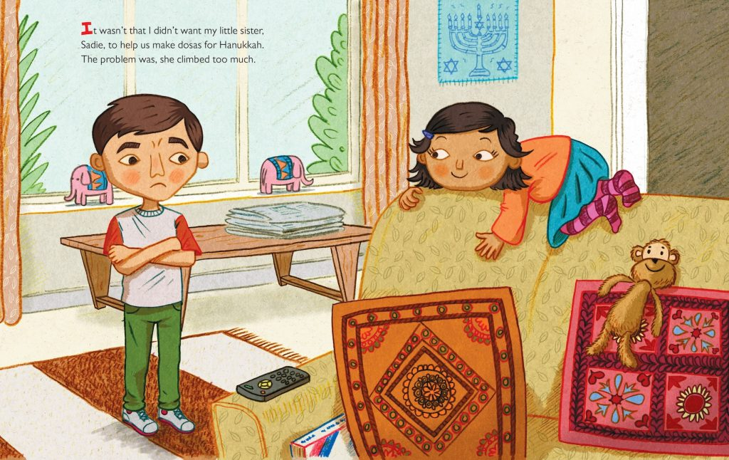 Queen of the Hanukkah Dosas brother / sister illustration - Story Snug