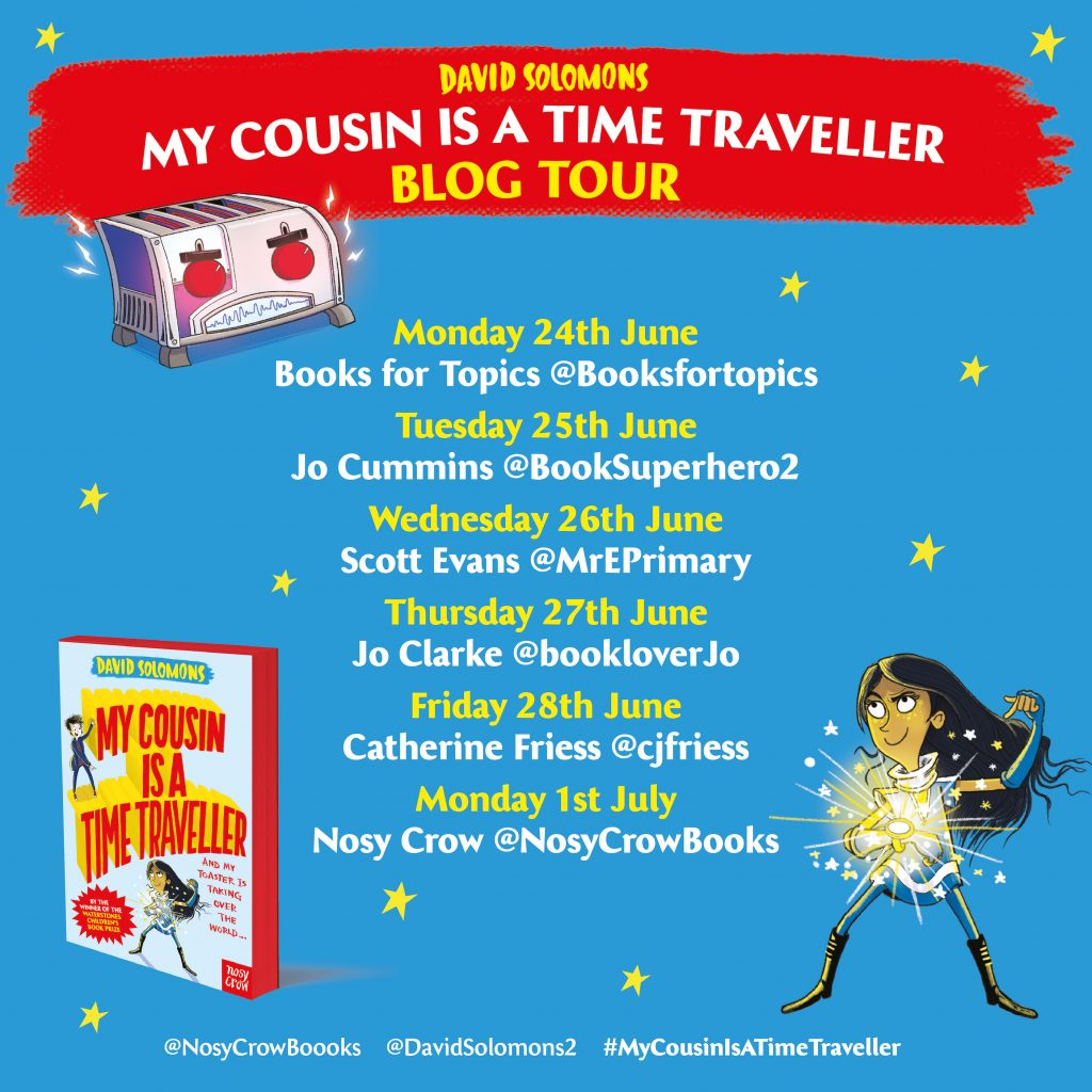 My Cousin is a Time Traveller blog tour banner - Story Snug
